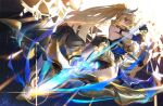 1girl aiming_at_viewer armor armored_dress arrow_(projectile) bangs bare_shoulders bianka_durandal_ataegina bianka_durandal_ataegina_(dea_anchora) black_gloves blonde_hair blue_eyes bow_(weapon) breasts ether.b full_body gloves hair_between_eyes hair_ornament holding holding_bow_(weapon) holding_weapon honkai_(series) honkai_impact_3rd long_hair looking_at_viewer polearm ponytail sideboob solo spear weapon