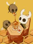 arizuka_(catacombe) bee bug butter chair cloak cup flying food highres hollow_eyes hollow_knight honey horns insect knight_(hollow_knight) mask no_humans orange_background pancake simple_background sitting wings