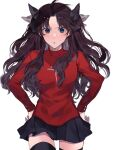1girl :o antenna_hair bangs black_hair black_legwear black_skirt blue_eyes blush bow breasts commentary_request cowboy_shot fate/stay_night fate_(series) hair_bow hair_ribbon highres long_hair long_sleeves looking_at_viewer medium_breasts miniskirt open_mouth parted_bangs pleated_skirt red_sweater ribbon shimatori_(sanyyyy) shiny shiny_hair simple_background skirt solo sweater thigh-highs tohsaka_rin two_side_up upper_teeth white_background zettai_ryouiki
