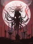 1boy alien bloodborne cape clouds copyright_name cross eldritch_abomination english_text facing_another facing_away from_behind gehrman_the_first_hunter hat highres holding holding_scythe monster moon moon_presence red_moon red_sky scythe sky tentacles tripdancer weapon wings