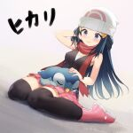 1girl absurdres beanie blue_eyes blue_hair blush boots bracelet brown_legwear character_name closed_mouth commentary dawn_(pokemon) eyelashes gen_4_pokemon hair_ornament hairclip hat highres jewelry long_hair on_lap pink_footwear piplup pokemon pokemon_(creature) pokemon_(game) pokemon_dppt pokemon_on_lap red_scarf rekyu_(rcrcx2) scarf sitting sleeveless smile starter_pokemon thigh-highs white_headwear