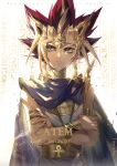 1boy ankh armlet artist_name atem backlighting black_hair blonde_hair blue_cape bracelet cape character_name closed_mouth collar commentary crossed_arms earrings egyptian_clothes ekita_kuro english_commentary english_text glint hieroglyphics highres jewelry looking_to_the_side male_focus metal_collar millennium_puzzle multicolored_hair redhead ring serious sideways_glance solo spiky_hair upper_body violet_eyes yu-gi-oh! yu-gi-oh!_duel_monsters