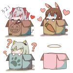 3girls ? amiya_(arknights) animal_ears arknights blue_eyes box brown_hair cardboard_box carrot chibi chinese_commentary chinese_text commentary_request demon_girl demon_horns demon_tail detonator green_eyes green_hair grey_hair halo hatsuzuki_527_(style) highres holding_remote_control horns in_box in_container kal'tsit_(arknights) luai_(qq) lynx_girl lynx_tail multiple_girls rabbit_ears red_eyes red_horns short_hair solid_oval_eyes tail w_(arknights)