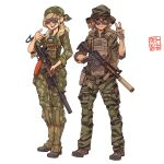 2girls :d absurdres ak-74 assault_rifle backpack bag blonde_hair blue_eyes boots brown_eyes brown_gloves brown_hair camouflage camouflage_headwear camouflage_jacket camouflage_pants camouflage_shirt earrings full_body gloves gun hat highres holding holding_gun holding_weapon jacket jewelry long_hair m16a1 military military_hat military_uniform multiple_girls open_mouth original pants rifle shirt short_hair simple_background sleeves_rolled_up smile sunglasses tactical_clothes teeth uniform v vest weapon white_background willy_pete