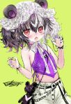 1girl animal_ears bangs bare_shoulders bear_ears black_hair blush bracelet claw_pose eyebrows_visible_through_hair fangs green_background hair_between_eyes hair_ornament hairclip hands_up highres indie_virtual_youtuber jewelry latin_cross multicolored_hair obear open_mouth pants purple_nails red_eyes shiodome_oji simple_background sketch solo spiked_bracelet spikes streaked_hair stuffed_animal stuffed_toy teddy_bear twintails virtual_youtuber white_hair white_pants x_hair_ornament yin_yang