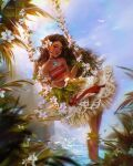1girl brown_eyes brown_hair brown_lips cliff crop_top curly_hair dark-skinned_female dark_skin flower full_body glowing_neckwear grass_anklet grass_bracelet grass_skirt hair_blowing hair_flower hair_ornament hibiscus highres jewelry long_hair moana_(disney) moana_(movie) moana_waialiki necklace ocean palm_leaf palm_tree red_shirt roytheart shirt sitting solo swing swinging traditional_clothes tree water waving white_flower