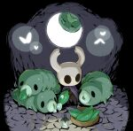 arizuka_(catacombe) bug cloak dark_background glowing grub_(hollow_knight) holding hollow_knight horns knight_(hollow_knight) lamp leaf looking_at_another mask no_humans simple_background sitting standing water_drop