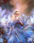 1girl bangs bare_shoulders blonde_hair blue_dress blue_eyes blue_headband blunt_bangs bug butterfly cattail cinderella cinderella_(disney) corset disney dress finger_to_mouth flower formal full_body gloves gown grass hair_bun headband insect off-shoulder_dress off_shoulder plant puffy_dress rose roytheart solo white_butterfly white_gloves