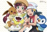 2girls :d artist_request bare_shoulders beanie black_shirt blue_hair blue_skirt braid braided_ponytail brown_headwear chloe_(pokemon) copyright copyright_name dawn_(pokemon) eevee gen_1_pokemon gen_4_pokemon gen_8_pokemon green_eyes hair_ornament hairclip hat highres holding holding_another's_arm holding_pokemon long_braid multiple_girls official_art one_eye_closed open_mouth pink_skirt piplup poke_ball_symbol pokemon pokemon_(anime) pokemon_(creature) pokemon_swsh_(anime) poketch purple_hair red_scarf scarf shirt skirt sleeveless sleeveless_shirt smile source_request watch watch white_headwear white_shirt yamper