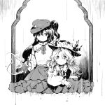 2girls cabbie_hat collared_shirt detached_sleeves dolls_in_pseudo_paradise flat_cap frilled_hat frills hat hat_feather jacket_girl_(dipp) juliet_sleeves kaigen_1025 label_girl_(dipp) long_hair long_sleeves monochrome multiple_girls pipe puffy_sleeves shirt side_ponytail skirt star_(symbol) touhou vest wavy_hair