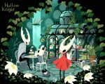 1girl arizuka_(catacombe) broken_vessel_(hollow_knight) chair cloak copyright_name flower food grimmchild hollow_knight hollow_knight_(character) hornet_(hollow_knight) knight_(hollow_knight) lily_pad plant potted_plant purple_flower red_cloak sitting sleeping standing table watering_can white_coak white_flower