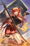 1girl arknights bangs black_gloves breasts commentary fire gloves hair_between_eyes highres holding holding_sword holding_weapon horns kernel_killer large_breasts long_hair midriff_peek miniskirt official_alternate_costume open_mouth originium_arts_(arknights) pencil_skirt red_skirt redhead revision short_sleeves skirt solo standing surtr_(arknights) surtr_(liberte_echec)_(arknights) sword symbol_commentary thigh_strap thighs very_long_hair violet_eyes weapon