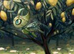 blue_eyes blurry celebi commentary_request flying food from_side fruit gen_2_pokemon highres leaf lemon mythical_pokemon no_humans pokemon pokemon_(creature) solo yukifuri_tsuyu