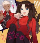 ! !! 1boy 1girl animal_ears archer_(fate) bad_hands bangs black_legwear blue_eyes breasts brown_hair cat_day cat_ears closed_eyes commentary_request dark-skinned_male dark_skin dated fangs fate/stay_night fate_(series) grin highres holding kemonomimi_mode knees_up long_hair medium_breasts open_mouth paw_print red_sweater shimatori_(sanyyyy) sitting skindentation smile solo_focus sparkle sweat sweater teeth thigh-highs tohsaka_rin white_hair
