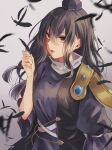 1girl bangs black_hair black_headwear blurry breasts chain depth_of_field expressionless falling_feathers feathers gold_chain gradient gradient_background grey_background hair_behind_ear hair_between_eyes hand_up hat holding holding_feather iizunamaru_megumu long_hair looking_at_viewer m_(neteitai10) medium_breasts motion_blur parted_lips puffy_sleeves red_eyes signature simple_background solo tokin_hat touhou upper_body