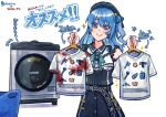021_shiro 1girl aqua_neckwear axe bangs beret black_headwear black_shirt black_skirt blood bloody_clothes blue_hair comet commentary crown earrings hat highres hololive hoshimachi_suisei jewelry juice_box laundry laundry_basket long_hair microphone neck_ribbon one_side_up ribbon shirt short_sleeves skirt solo star_(symbol) t-shirt translation_request washing_machine