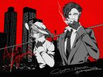 1boy 1girl alternate_universe apex_legends character_name city collarbone collared_shirt crypto_(apex_legends) fence formal gloves jacket light_smile looking_down mozuwaka noir_(theme) partially_fingerless_gloves scar scar_on_cheek scar_on_face shirt smoking spot_color suit upper_body wattson_(apex_legends)