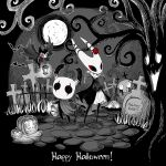 1boy 1girl 1other arizuka_(catacombe) bare_tree bat brooch cloak commentary copyright_name cravat english_commentary english_text eyeliner flower full_body full_moon graveyard greyscale grimmchild halloween hat highres holding holding_lantern hollow_eyes hollow_knight hornet_(hollow_knight) horns jack-o'-lantern jewelry knight_(hollow_knight) lantern looking_at_viewer makeup monochrome moon outdoors rose spot_color standing tombstone top_hat tree wings