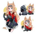 1girl 1other :d animal_ears archetto_(arknights) arknights beer_mug black_coat black_corset black_dress blonde_hair blue_eyes cape coat corset cup doctor_(arknights) dress gloves heterochromia holding holding_cup holding_paper hooded_coat long_hair mug odmised open_mouth paper red_cape red_eyes smile tail visor white_background wrist_guards