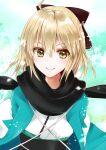 1girl absurdres ahoge ayamu_(igakato) bangs belt black_scarf blonde_hair fate/grand_order fate_(series) hair_between_eyes hair_ribbon haori highres japanese_clothes looking_at_viewer okita_souji_(fate) okita_souji_(fate)_(all) ribbon scarf short_hair smile snowing solo upper_body yellow_eyes