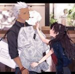 1boy 1girl alternate_costume archer_(fate) ass bag bangs black_hair black_shirt blue_eyes blurry blurry_foreground closed_mouth commentary_request dark_skin denim denim_jacket depth_of_field fate/stay_night fate_(series) floral_print hair_ribbon highres holding holding_clothes holding_shirt jacket jacket_on_shoulders long_hair one_eye_closed pants red_shirt ribbon shimatori_(sanyyyy) shirt smile tohsaka_rin two_side_up watch watch white_hair