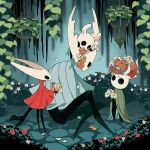 arizuka_(catacombe) bouquet broken_vessel_(hollow_knight) cloak flower highres holding holding_bouquet holding_flower hollow_eyes hollow_knight hollow_knight_(character) hornet_(hollow_knight) horns knight_(hollow_knight) looking_at_another nature no_humans red_flower simple_background sitting standing weapon