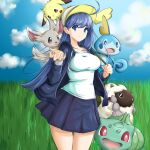 1girl black_jacket black_skirt blue_eyes blue_hair blue_sky bulbasaur chaesu clouds cloudy_sky cowboy_shot gen_1_pokemon gen_5_pokemon gen_8_pokemon grass hands_up hat highres jacket long_hair looking_at_viewer minccino orie_(under_night_in-birth) pikachu pleated_skirt pokemon pokemon_(creature) shadow shirt skirt sky smile sobble solo under_night_in-birth very_long_hair white_shirt wooloo