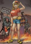 1girl 5boys absurdres arm_up axe bangs baseball_cap belt blonde_hair blue_eyes blue_shorts building chanta_(ayatakaoisii) copyright_request eyebrows_visible_through_hair fire full_body hat highres holding holding_axe long_hair midriff multiple_boys navel open_mouth print_shirt red_shirt shirt shoes short_sleeves shorts sign solo_focus standing yellow_footwear zombie