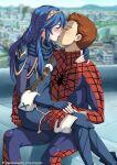 fire_emblem fire_emblem_heroes hetero lucina_(fire_emblem) marvel source_request spider-man spider-man_(series) tongue_kiss