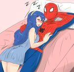 blue_eyes blue_hair crossover fire_emblem fire_emblem_heroes highres lucina_(fire_emblem) marvel spider-man spider-man_(series)