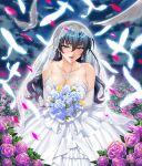 1girl bangs bare_shoulders bird blue_hair blush bouquet breasts bridal_veil collarbone commentary_request dove dress earrings elbow_gloves eyebrows_visible_through_hair feathered_wings feathers field flower flower_field gloves green_eyes highres holding igawa_asagi jewelry kagami_hirotaka large_breasts lipstick long_hair makeup necklace official_art open_mouth petals rose rose_petals simple_background smile solo strapless strapless_dress taimanin_(series) taimanin_asagi veil wedding_dress white_background white_dress wings