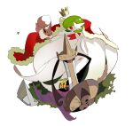 1girl :3 aegislash apios1 bangs black_eyes black_sclera bob_cut brown_eyes cape colored_sclera colored_skin commentary day dress eevee elbow_gloves flat_chest from_above fur-trimmed_cape fur_trim gardevoir gen_1_pokemon gen_2_pokemon gen_3_pokemon gen_6_pokemon gloves grass green_hair hair_over_one_eye happy highres looking_at_another mega_gardevoir mega_pokemon one-eyed open_mouth outdoors pokemon pokemon_(creature) red_cape red_eyes rust shield short_hair slit_pupils smile strapless strapless_dress sunkern sword violet_eyes weapon white_background white_dress white_gloves white_skin