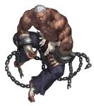 1boy absurdres bandages black_eyes black_skin chain closed_mouth colored_skin desert_mercenary_marvin fingernails foot_wraps game_cg guardian_tales hand_wraps highres looking_at_viewer muscular muscular_male official_art scar shirt short_hair sleeveless tattoo torn_clothes torn_legwear torn_shirt transparent_background white_hair