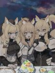 3girls animal_ear_fluff animal_ears arknights armor aunt_and_niece black_bow black_headwear blemishine_(arknights) blonde_hair blue_eyes bow feeding food hair_bow headset highres holding holding_spoon horse_ears implied_extra_ears multiple_girls nearl_(arknights) omcxxx open_mouth orange_eyes ponytail siblings sisters spoon upper_body whislash_(arknights)
