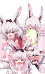 >_< 2girls :d animal_ears backpack bag benghuai_xueyuan blood blue_eyes blush closed_eyes cosplay crossover fang fox_ears hands_on_own_face highres honkai_(series) honkai_impact_3rd kanna_kamui kanna_kamui_(cosplay) kobayashi-san_chi_no_maidragon long_hair long_sleeves momoko_nico multiple_girls nosebleed open_mouth pillow pillow_hug pink_eyes pink_hair smile speech_bubble theresa_apocalypse theresa_apocalypse_(sakura_rondo) v-shaped_eyebrows yae_sakura yae_sakura_(gyakushinn_miko)