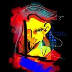 1girl abstract black_background colored_skin hair_over_one_eye highres kurokuroart long_hair original portrait redhead signature smile solo yellow_skin
