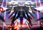 aircraft airplane burning clenched_hands energy_blade explosion extra_arms fighter_jet floating halo highres jet mecha military military_vehicle no_humans open_hands original rapama science_fiction sky solo thrusters