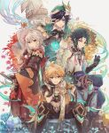 4boys aether_(genshin_impact) ahoge androgynous arm_guards arm_tattoo armor artist_name asymmetrical_clothes autumn_leaves bandaged_hand bangs bead_necklace beads bent_over beret black_hair blonde_hair blue_hair blush bow braid brooch closed_mouth collared_cape collared_shirt commentary corset crop_top csyday dandelion detached_sleeves diamond_(shape) earrings eyebrows_visible_through_hair eyeshadow facial_mark fangs feather_earrings feathers flower forehead_mark frilled_sleeves frills from_side genshin_impact ginkgo_leaf gloves gradient_hair green_eyes green_gloves green_hair green_headwear green_shorts grey_background hair_between_eyes hair_flower hair_ornament hand_on_own_cheek hand_on_own_face hand_on_own_thigh hat highres holding holding_sword holding_weapon japanese_clothes jewelry katana kazuha_(genshin_impact) leaf long_hair long_sleeves looking_at_viewer makeup male_focus mask medium_hair midriff multicolored_hair multiple_boys navel necklace one_eye_closed open_mouth parted_bangs pendant ponytail red_eyes red_eyeshadow redhead rock scarf sheath sheathed shirt short_hair short_hair_with_long_locks shorts shoulder_armor shoulder_pads shoulder_spikes sidelocks signature single_bare_shoulder single_detached_sleeve single_earring sitting sitting_on_rock smile spikes standing star_(symbol) streaked_hair sweat sword symbol_commentary tassel tattoo tongue tongue_out twin_braids two-tone_hair v venti_(genshin_impact) vision_(genshin_impact) weapon white_flower white_hair white_shirt wide_sleeves wind windmill xiao_(genshin_impact) yellow_eyes