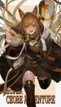 1girl :d absurdres animal_ears arknights arm_up bangs boots breasts brown_eyes brown_footwear brown_hair ceobe_(arknights) character_name commentary cowboy_shot dog_ears dog_girl dress dutan_baopo english_text eyebrows_visible_through_hair fang floating_hair hair_between_eyes hand_up highres holding holding_staff index_finger_raised jacket long_hair long_sleeves looking_at_viewer multicolored multicolored_clothes multicolored_jacket multiple_straps multiple_weapons open_clothes open_jacket open_mouth oripathy_lesion_(arknights) pointing pointing_at_viewer red_eyes running shoulder_guard sidelocks skin_fang smile solo staff thigh-highs thigh_boots thighs very_long_hair weapon weapon_on_back white_jacket