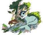 :< animal_focus apios1 berry_(pokemon) black_eyes brown_sclera closed_mouth colored_sclera commentary day dutch_angle from_behind full_body gen_1_pokemon gen_4_pokemon grass highres leafeon looking_at_viewer looking_back mouth_hold no_humans oran_berry outdoors pokemon pokemon_(creature) sitting stream tree vaporeon water