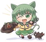 3girls :3 ;d animal_ears bangs black_cat black_footwear black_headwear bow cat cat_ears cat_tail clenched_hand eyebrows_visible_through_hair full_body green_eyes green_hair green_skirt hat hat_bow heart heart_of_string holding holding_clothes holding_hat kaenbyou_rin kaenbyou_rin_(cat) komeiji_koishi long_sleeves looking_at_viewer multiple_girls multiple_tails nekomata one_eye_closed open_mouth reiuji_utsuho reiuji_utsuho_(bird) rokugou_daisuke shirt short_hair signature simple_background skirt smile tail third_eye touhou white_background yellow_bow yellow_shirt