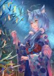 1girl absurdres ahoge animal_ear_fluff bamboo bamboo_forest bangs blue_hair blue_hakama blue_kimono blue_skirt blush cat_girl closed_eyes cowboy_shot floral_print forest from_side hair_between_eyes hakama heart_ahoge highres holding_charm hololive japanese_clothes kimono long_hair looking_at_object low_twintails multicolored_hair nature night night_sky parted_lips print_kimono shawl skirt sky smile solo star_(sky) starry_sky streaked_hair tanabata tanzaku twintails very_long_hair virtual_youtuber wide_sleeves xyunx yellow_eyes yukihana_lamy