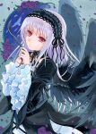 1girl acrylic_paint_(medium) akr369akr bangs black_collar black_dress black_ribbon black_wings closed_mouth collar detached_collar dress eyebrows_visible_through_hair feathered_wings flower gothic_lolita hairband layered_sleeves lolita_fashion lolita_hairband long_hair long_sleeves neck_ribbon purple_flower purple_rose red_eyes ribbon rose rozen_maiden shiny shiny_hair silver_hair solo straight_hair suigintou traditional_media very_long_hair wide_sleeves wings