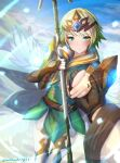 1girl armor bangs blonde_hair blue_skirt blush brown_gloves clear_glass_(mildmild1311) closed_mouth clouds commentary_request day dress eyebrows_visible_through_hair feather_trim fire_emblem fire_emblem_heroes fjorm_(fire_emblem) gauntlets gloves gradient_hair green_dress green_eyes green_hair hair_ornament highres holding holding_hands holding_polearm holding_spear holding_weapon jewelry kiran_(fire_emblem) looking_at_viewer multicolored_hair outdoors polearm pov ring short_hair shoulder_armor skirt sky smile spear thigh-highs tiara twitter_username two-tone_hair weapon wedding_ring white_sleeves wide_sleeves