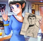 1girl black_hair blue_dress blue_eyes blurry blurry_background chutohampa dress hand_up long_sleeves looking_at_viewer photo_background picture_(object) pointy_ears salute short_hair signature spock standing star_trek vulcan vulcan_salute