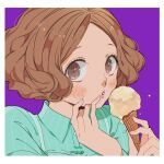 1girl aqua_dress arms_up blue_dress blush border brown_hair collar collared_dress curly_hair dress food hands_up holding holding_food ice_cream ivxxx light_brown_hair looking_to_the_side okumura_haru open_mouth parted_lips persona persona_5 purple_background short_hair simple_background solo teeth white_border