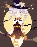 1girl absurdres bangs bantian_yindang bare_shoulders bat bronya_zaychik bronya_zaychik_(snowy_sniper) broom broom_riding brown_background brown_gloves closed_mouth drill_hair elbow_gloves full_moon gloves grey_eyes grey_hair hair_between_eyes halloween halloween_costume hat highres holding homu_(honkai_impact) honkai_(series) honkai_impact_3rd looking_at_viewer mismatched_gloves moon simple_background solo twin_drills uneven_gloves uneven_legwear witch_hat yellow_gloves yellow_legwear