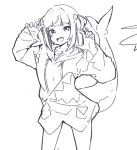 1girl :d animal_costume bangs blunt_bangs cowboy_shot fish_tail gawr_gura greyscale hair_ornament hands_up harmhaunters hololive hololive_english hood hood_down lineart looking_at_viewer monochrome open_mouth shark_costume shark_girl shark_tail sharp_teeth sketch sleeves_past_wrists smile solo standing tail teeth two_side_up virtual_youtuber