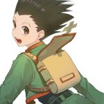 1boy :d backpack bag belt black_belt black_hair brown_bag brown_eyes commentary gon_freecss green_jacket highres hunter_x_hunter jacket long_sleeves looking_at_viewer looking_back male_focus mmo_(mmo_omm938) open_bag open_mouth short_hair simple_background smile solo spiky_hair teeth upper_body white_background