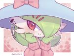 1girl alternate_costume artist_name bangs bellavoirr blue_headwear blush bob_cut border bow closed_mouth clothed_pokemon colored_skin commentary cosplay ear_piercing english_commentary gardevoir gen_3_pokemon gen_8_pokemon green_hair green_skin hair_ornament hair_over_one_eye hairclip hands_on_own_face hands_up happy hat hat_bow hatterene hatterene_(cosplay) long_sleeves looking_at_viewer mixed-language_commentary multicolored multicolored_skin outline outside_border piercing pink_background pink_bow pink_sweater pokemon pokemon_(creature) puffy_long_sleeves puffy_sleeves red_eyes shiny shiny_hair short_hair signature smile solo sparkle sweater two-tone_skin upper_body white_border white_outline white_skin witch_hat x_hair_ornament
